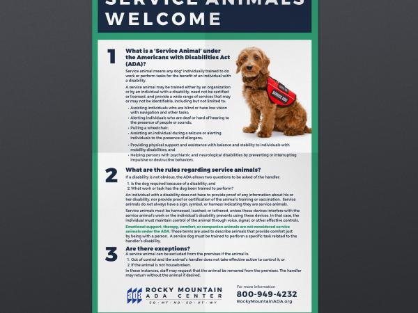 Service Animals Welcome Poster