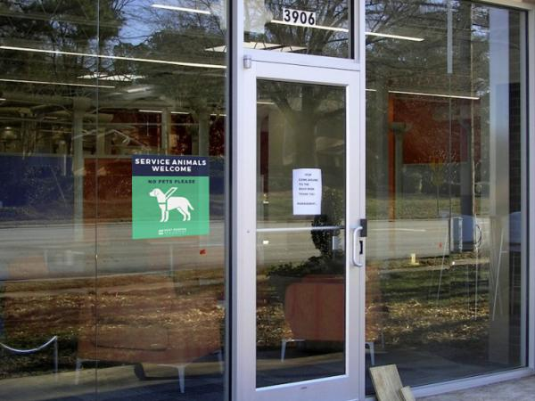 Service Animals Welcome Window Cling on Store Front