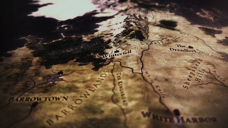 A worn, frayed map depicting Westeros, the fictional land in Game of Thrones. Image is focused on Winterfell, the home of the Stark family.