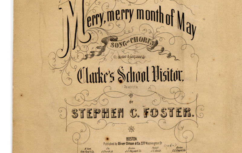 "Sepia photo of a song book with the title ""Merry, merry month of May."""