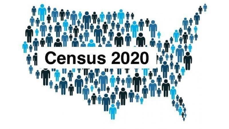 Map of U.S. made of people with text reading Census 2020