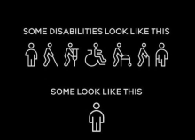 "White Pictograms over a black background depicting various disabilities (arm amputee, white-cane user, crutches user, wheelchair user, walker user, walking cane user, leg amputee) with caption reading ""Some disabilities look like this"" followed by a pictogram of a person without an obvious disability with a caption reading ""Some look like this."""