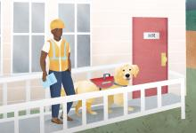 Workman with service dog walking into HR department