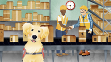 Service dog in front of factory workers shaking hands