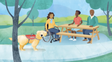 Service dog in part with three people at picnic table